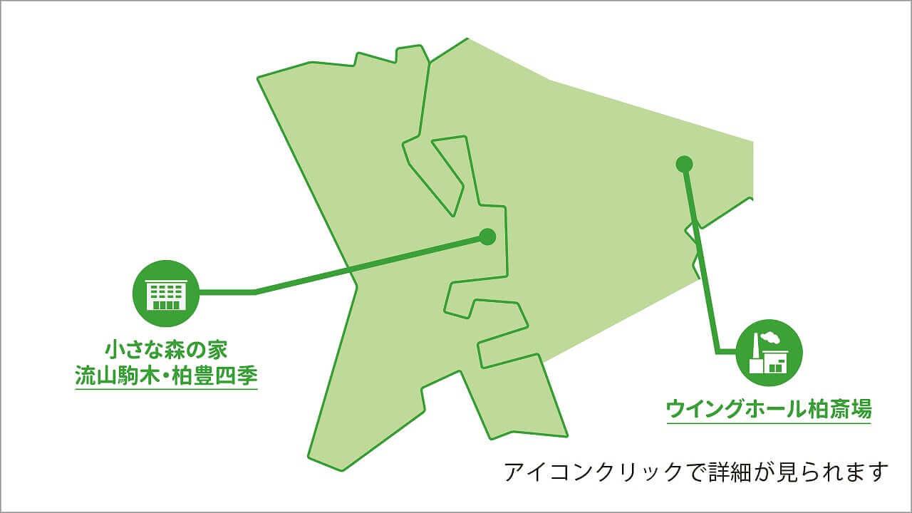 流山市内の葬儀場、柏市の火葬場の場所を記した地図