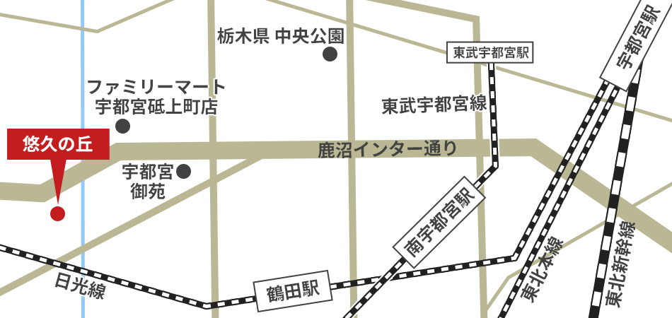 悠久の丘への徒歩・バスでの行き方・アクセスを記した地図