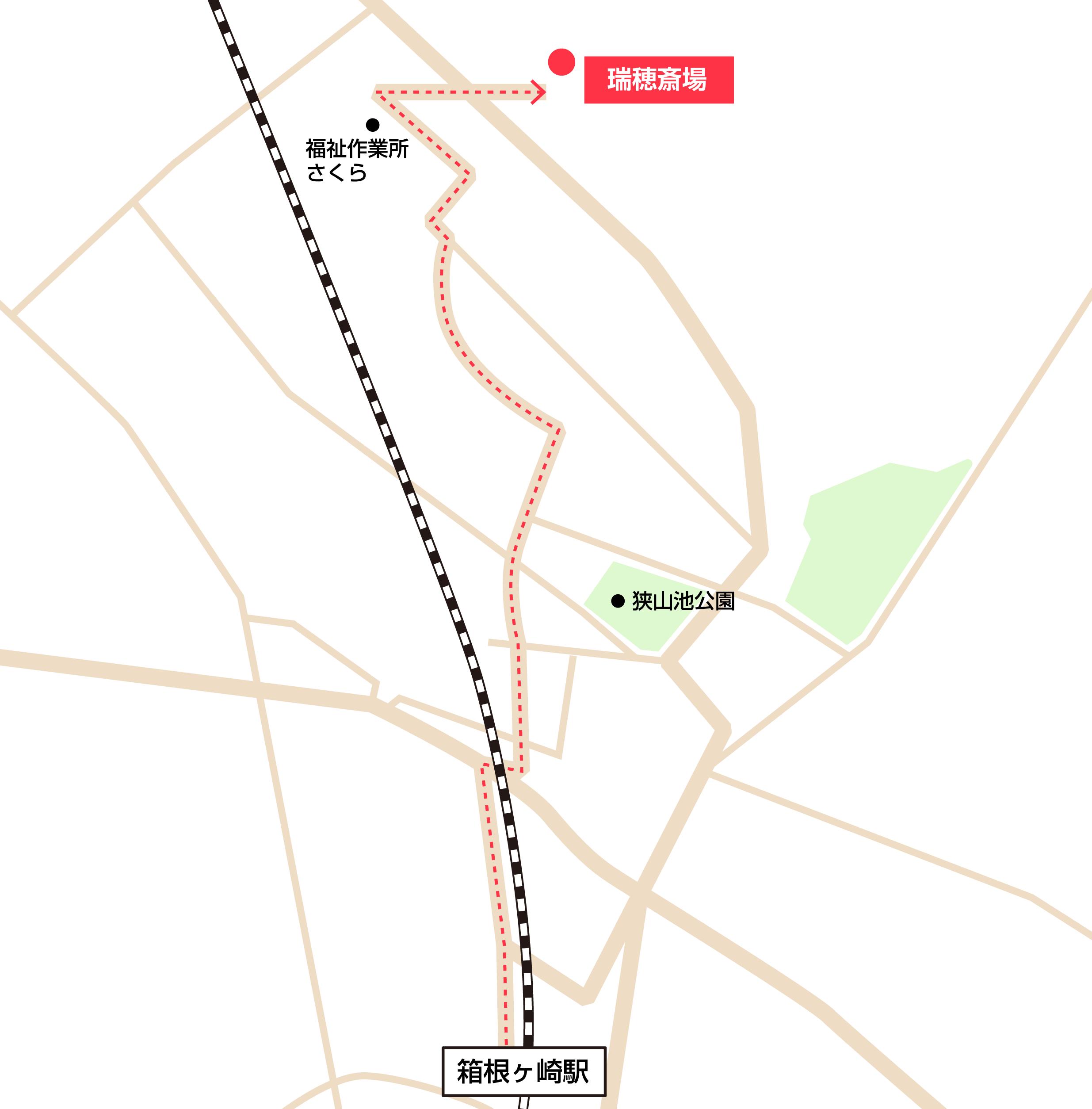 瑞穂斎場への徒歩・バスでの行き方・アクセスを記した地図