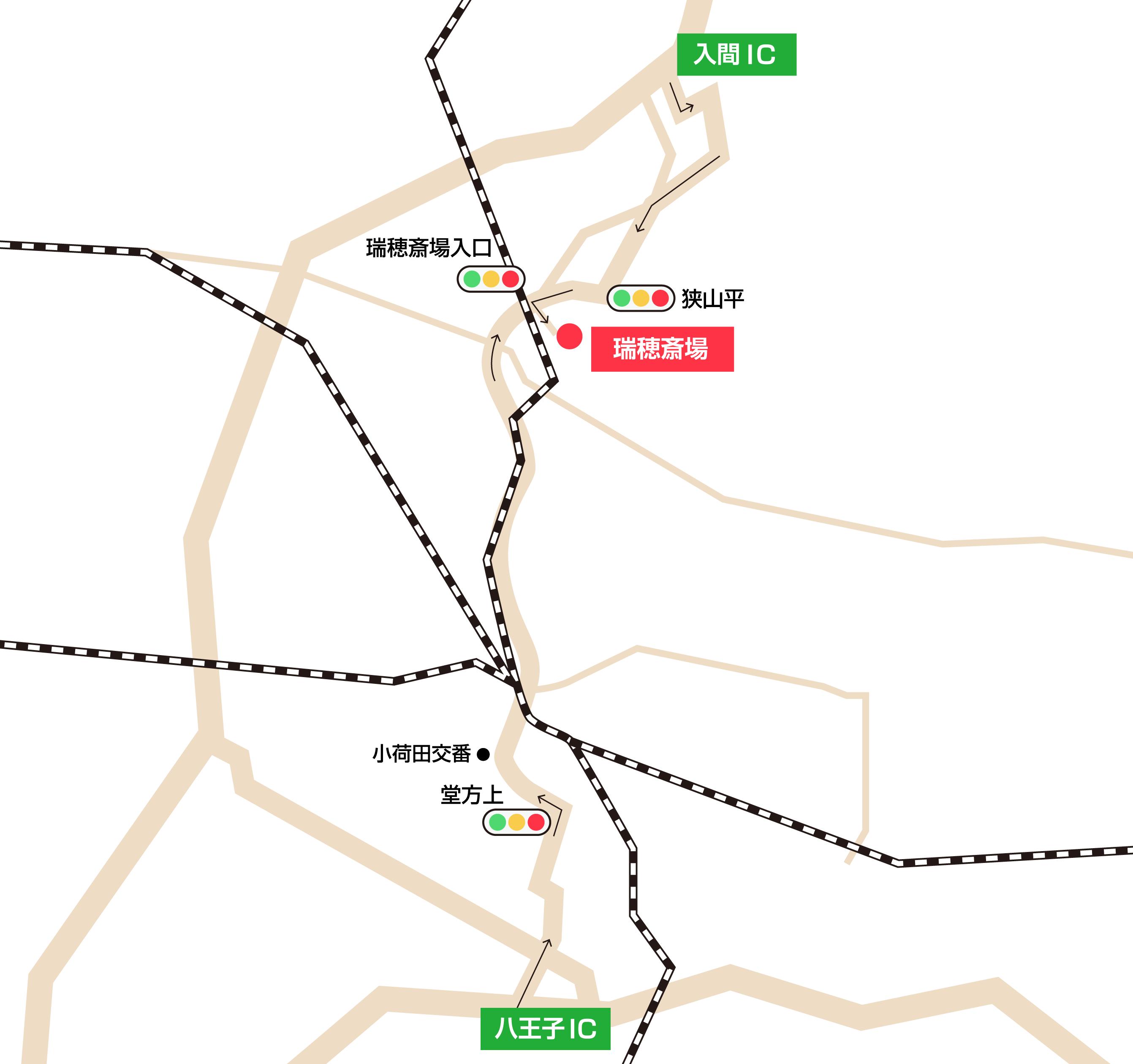 瑞穂斎場への車での行き方・アクセスを記した地図