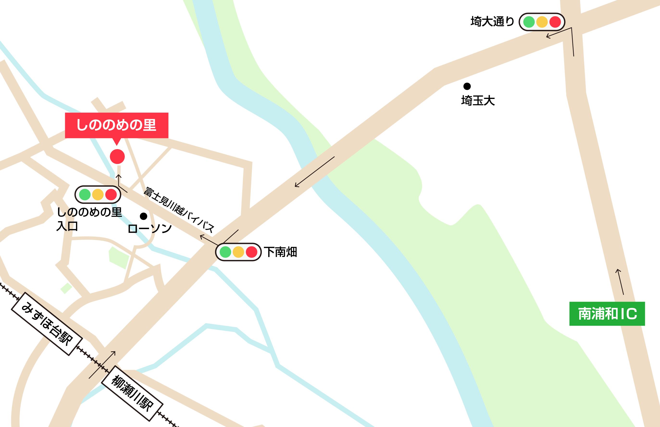 しののめの里への車での行き方・アクセスを記した地図