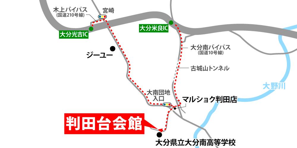 判田台会館への車での行き方・アクセスを記した地図