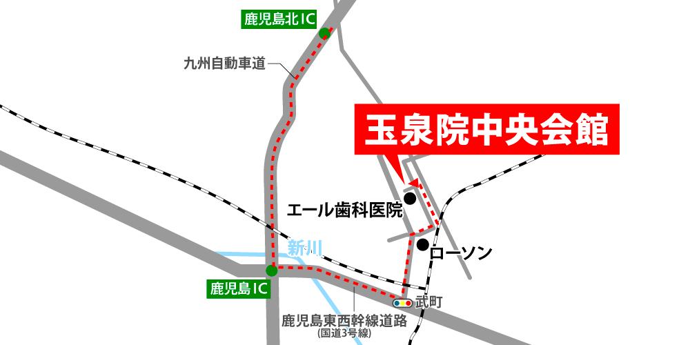 玉泉院中央会館への車での行き方・アクセスを記した地図