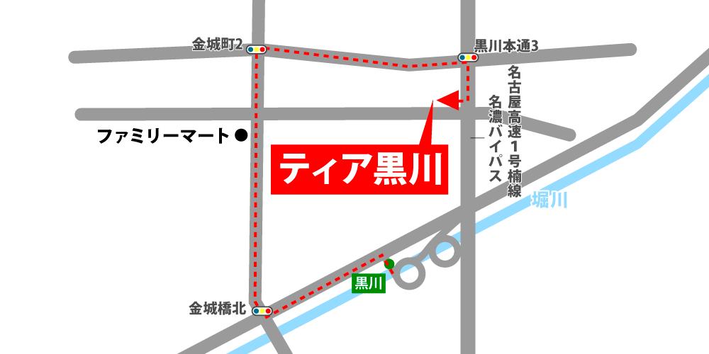ティア緑への車での行き方・アクセスを記した地図