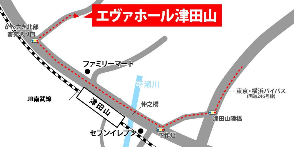 エヴァホール津田山への車での行き方・アクセスを記した地図