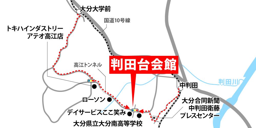 判田台会館への徒歩・バスでの行き方・アクセスを記した地図