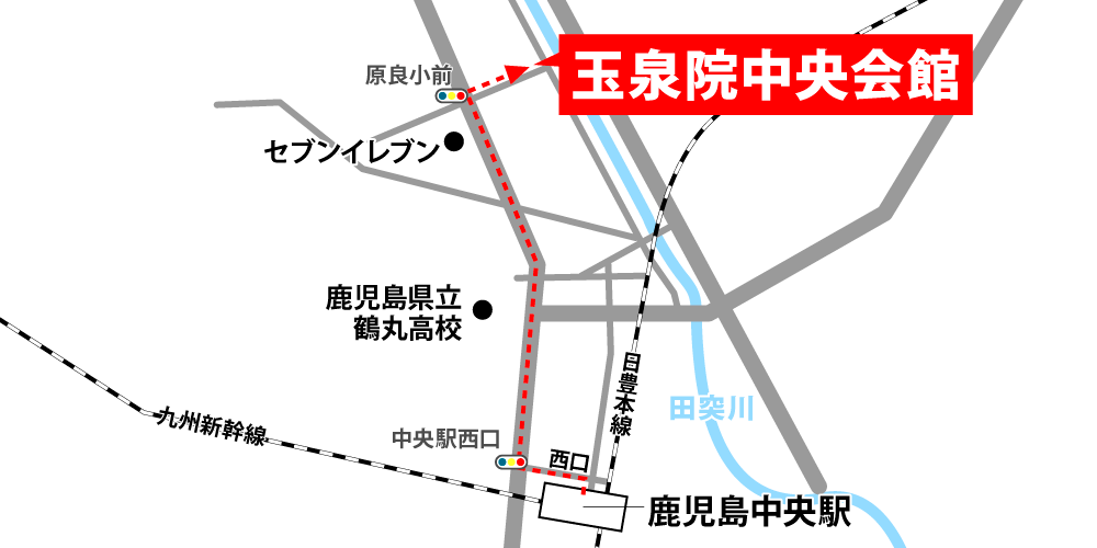 玉泉院中央会館への徒歩・バスでの行き方・アクセスを記した地図