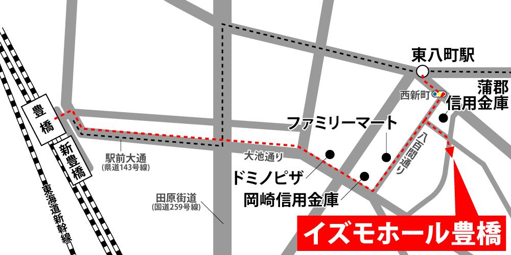 イズモホール豊橋への徒歩・バスでの行き方・アクセスを記した地図