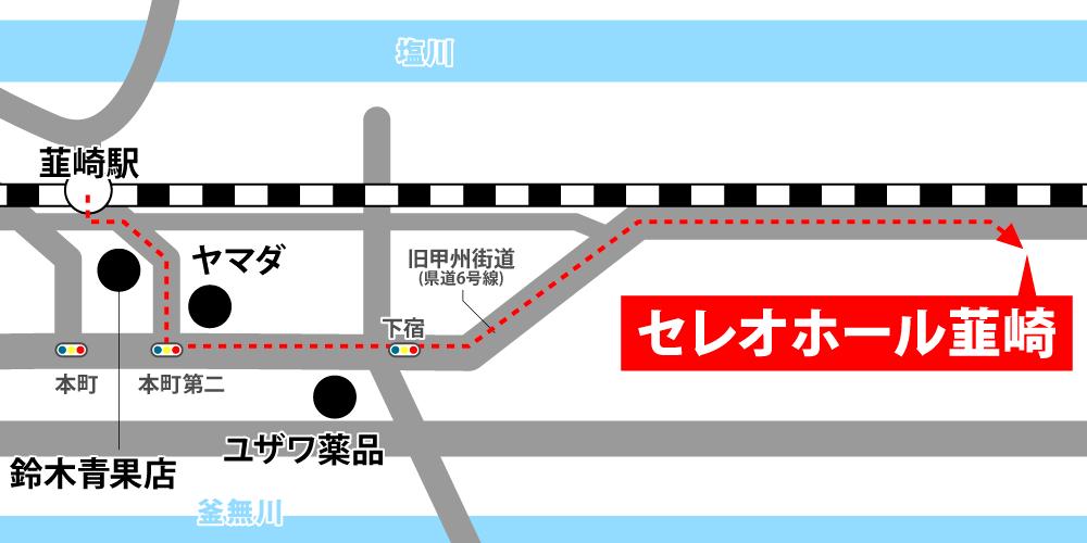セレオホール韮崎への徒歩・バスでの行き方・アクセスを記した地図