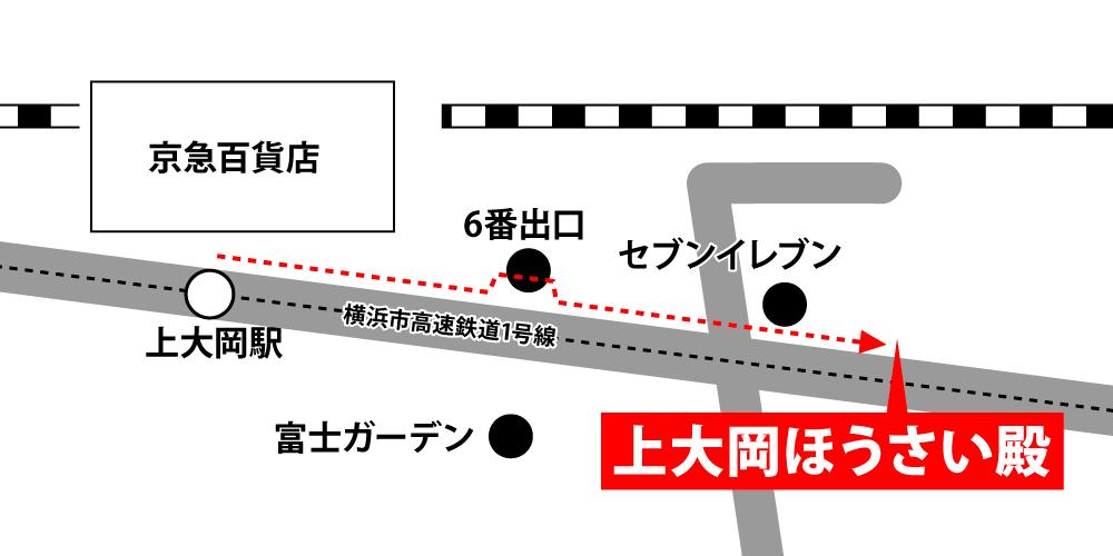 上大岡ほうさい殿への徒歩・バスでの行き方・アクセスを記した地図
