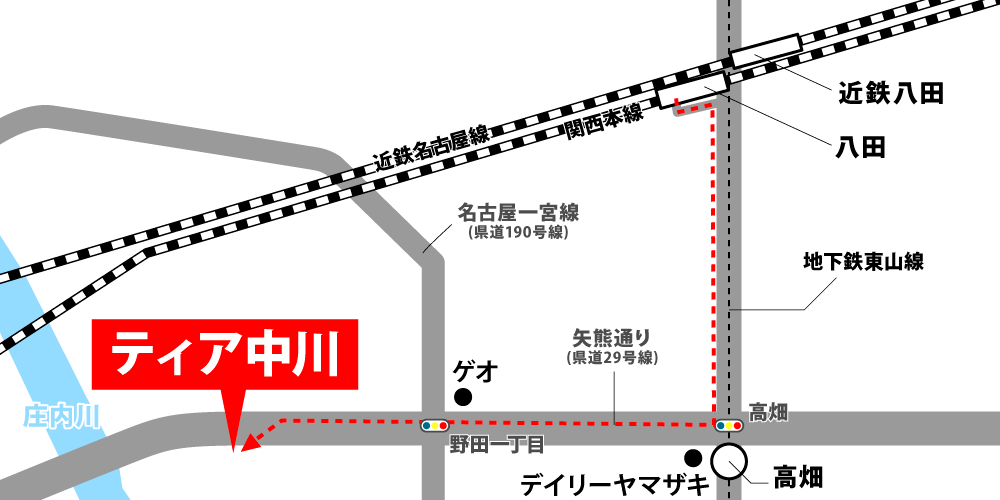 ティア中川への車での行き方・アクセスを記した地図