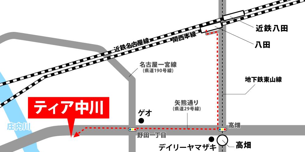 ティア中川への徒歩・バスでの行き方・アクセスを記した地図