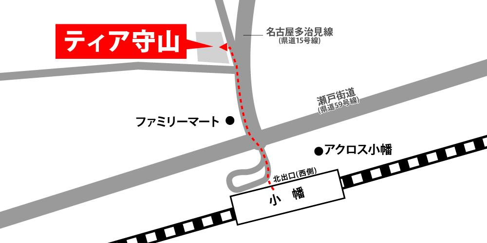 ティア守山への徒歩・バスでの行き方・アクセスを記した地図