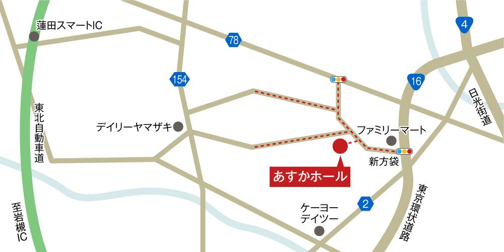 あすかホールへの車での行き方・アクセスを記した地図