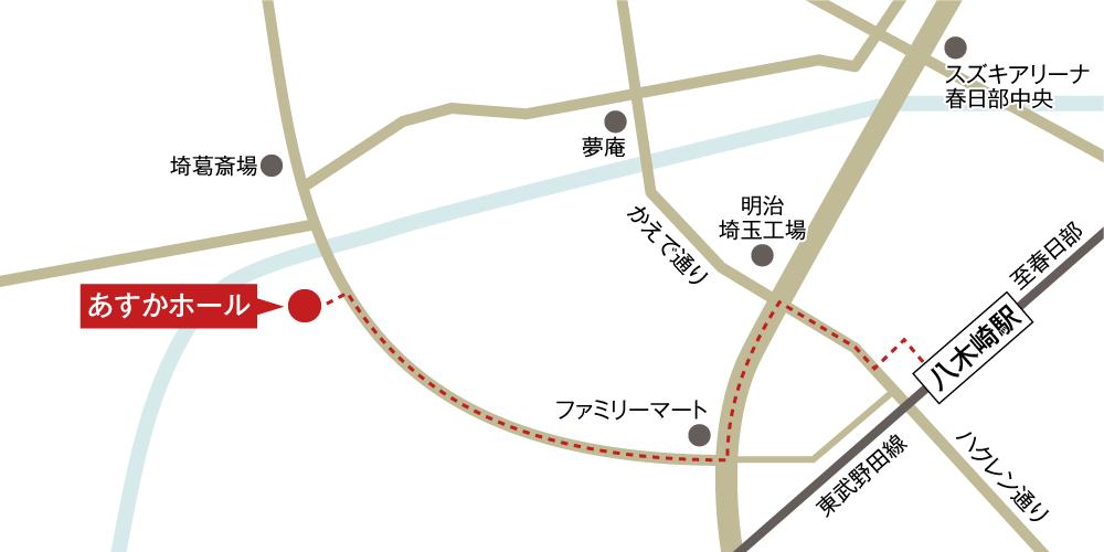 あすかホールへの徒歩・バスでの行き方・アクセスを記した地図