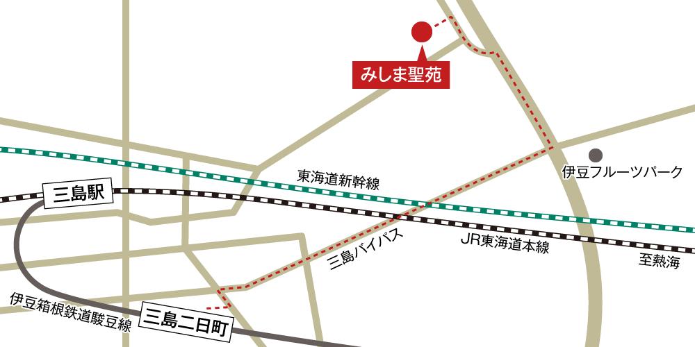 みしま聖苑への徒歩・バスでの行き方・アクセスを記した地図
