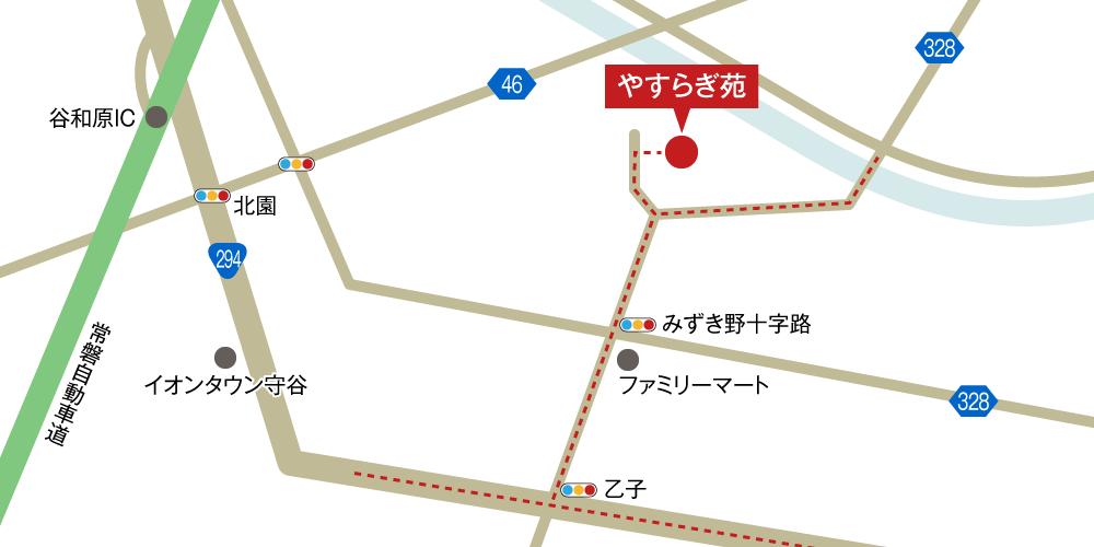 やすらぎ苑への車での行き方・アクセスを記した地図