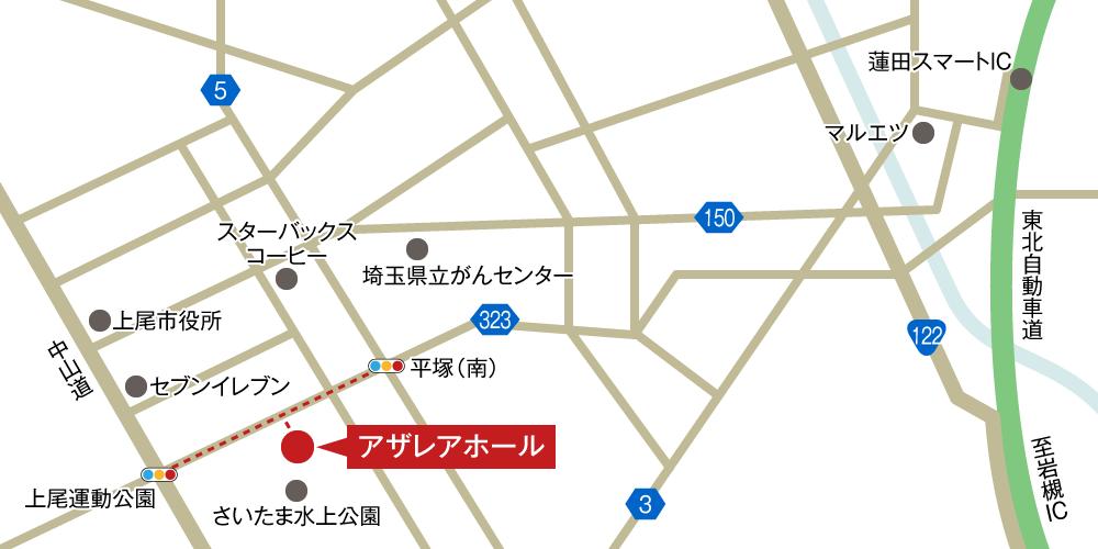 アザレアホールへの車での行き方・アクセスを記した地図