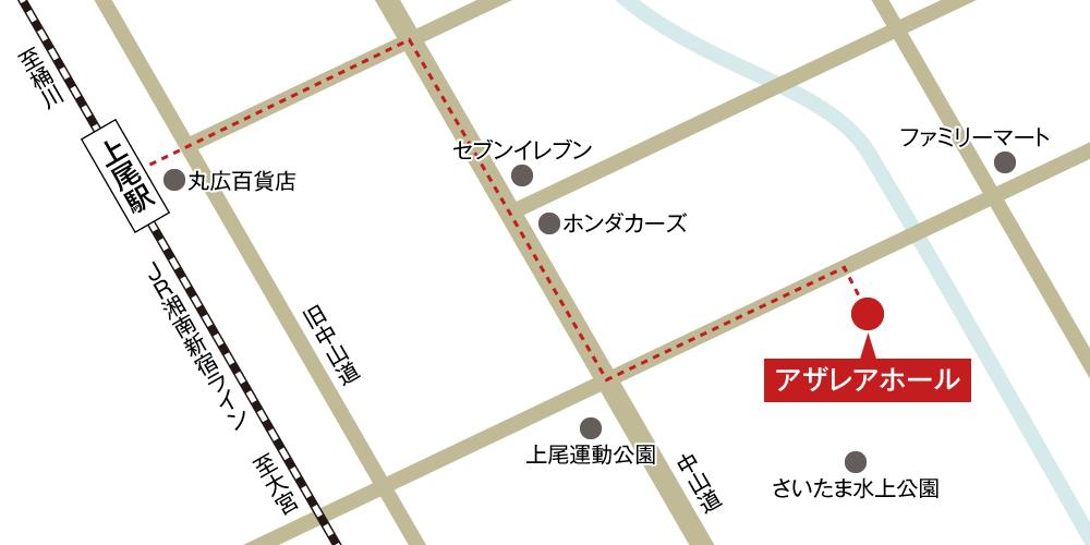 アザレアホールへの徒歩・バスでの行き方・アクセスを記した地図