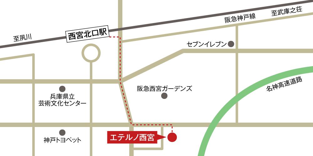 エテルノ西宮への徒歩・バスでの行き方・アクセスを記した地図