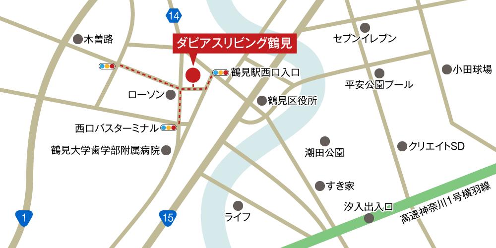 ダビアスリビング鶴見への車での行き方・アクセスを記した地図