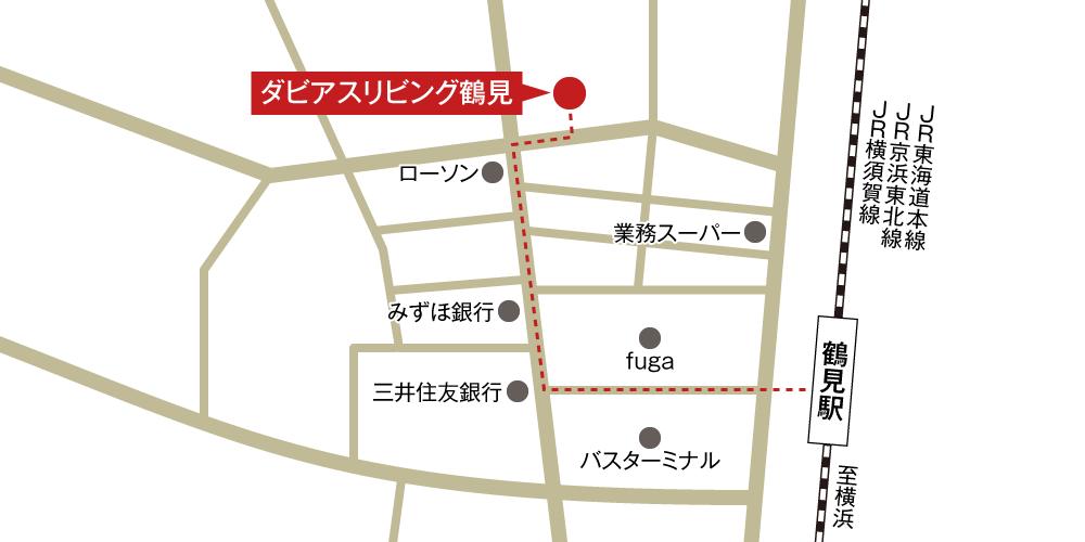 ダビアスリビング鶴見への徒歩・バスでの行き方・アクセスを記した地図
