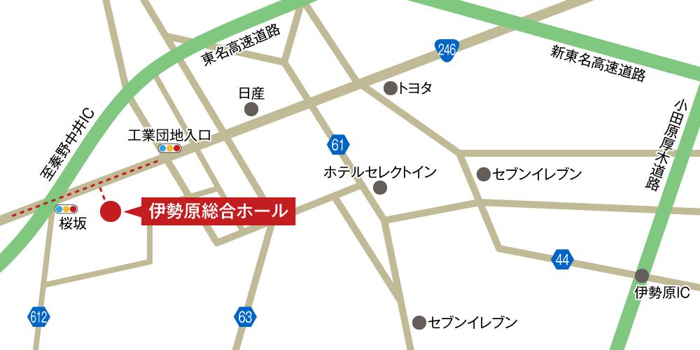 伊勢原総合ホールへの車での行き方・アクセスを記した地図