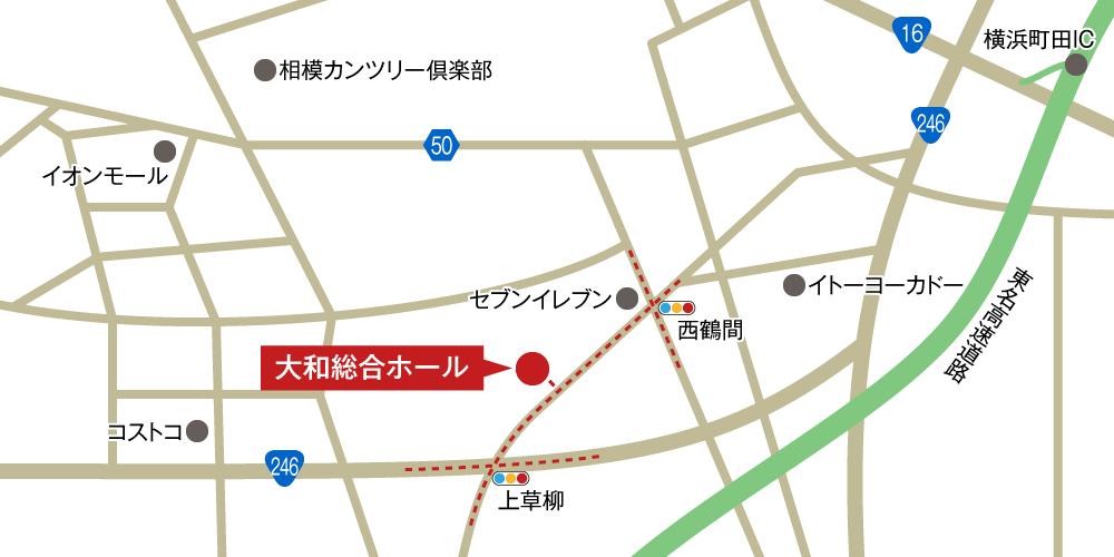 大和総合ホールへの車での行き方・アクセスを記した地図