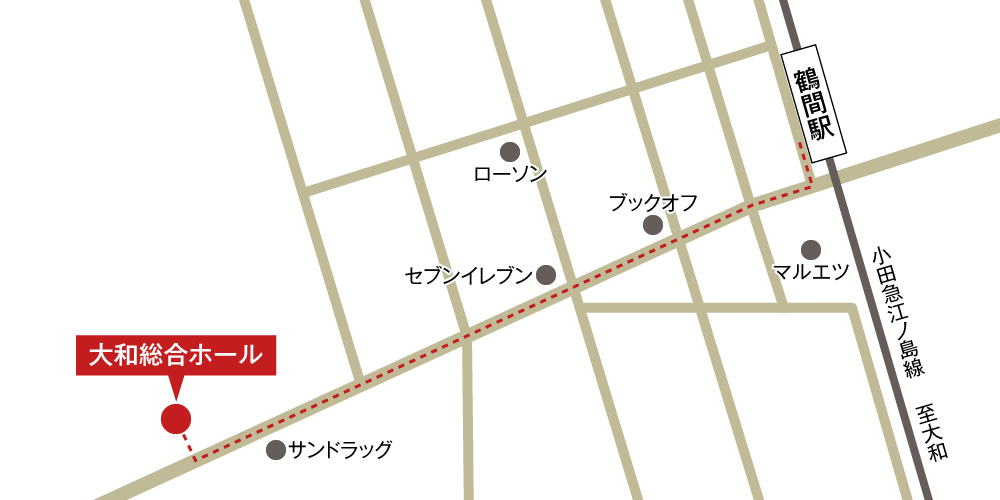 大和総合ホールへの徒歩・バスでの行き方・アクセスを記した地図
