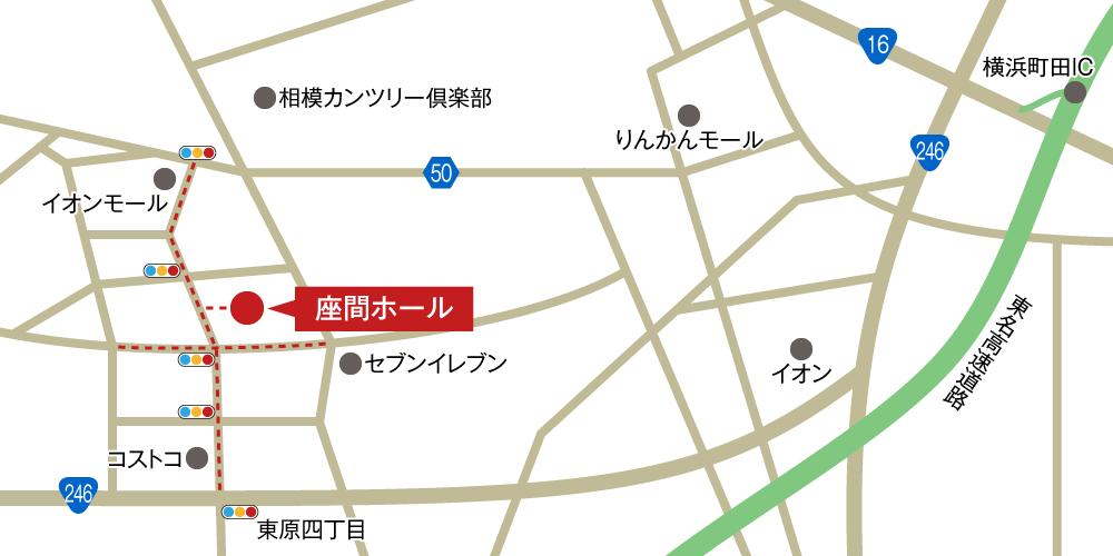 座間ホールへの車での行き方・アクセスを記した地図