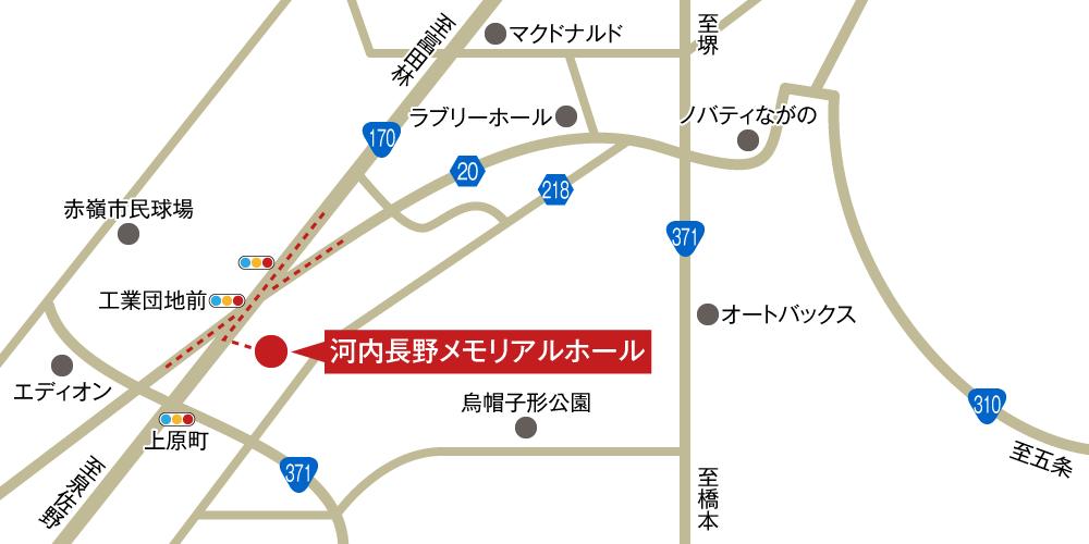 河内長野メモリアルホールへの車での行き方・アクセスを記した地図