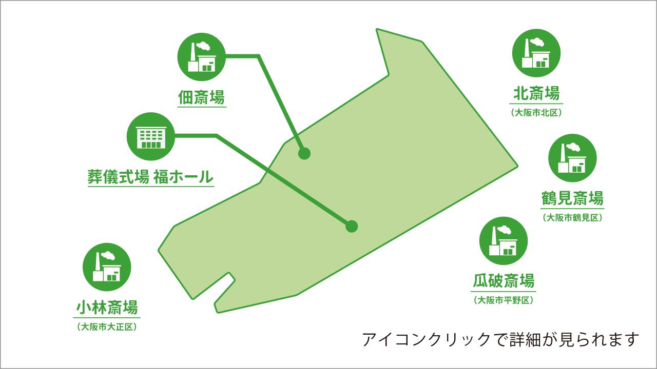大阪市西淀川区の葬儀場を記した地図画像