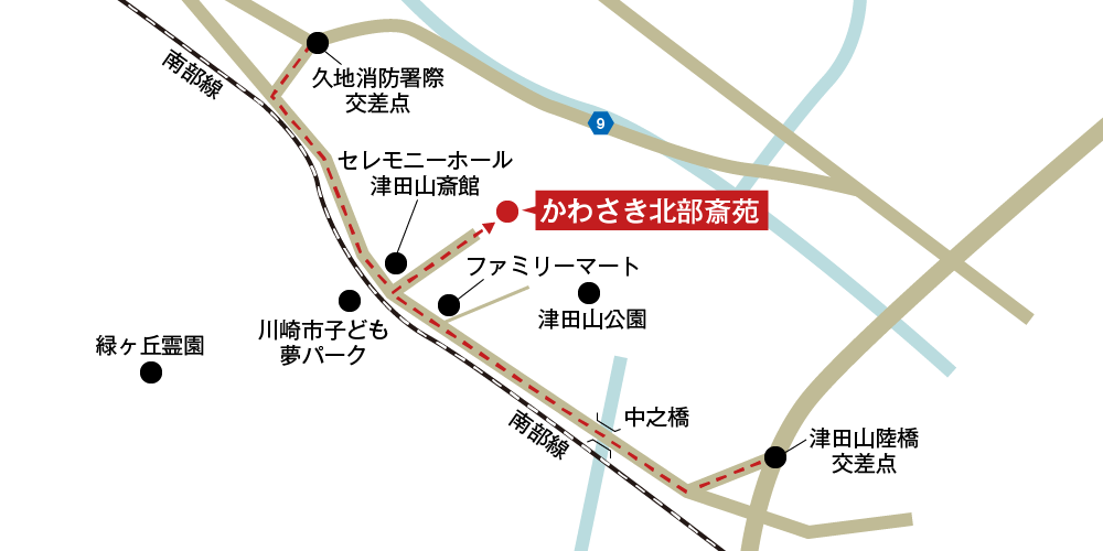 かわさき北部斎苑への車での行き方・アクセスを記した地図