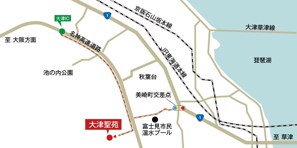 大津聖苑への車での行き方・アクセスを記した地図
