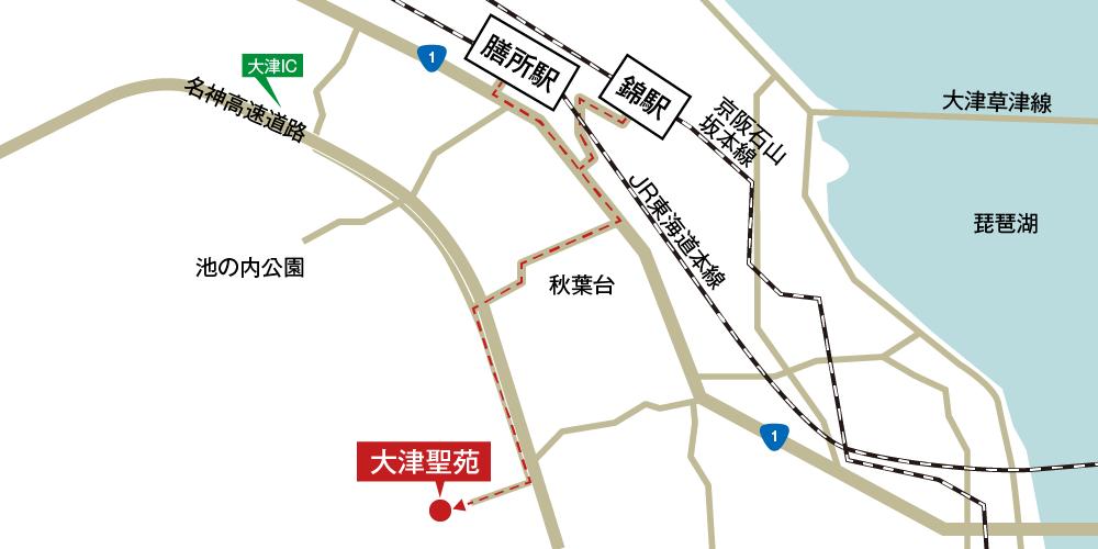 大津聖苑への徒歩・バスでの行き方・アクセスを記した地図
