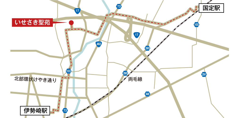 いせさき聖苑への徒歩・バスでの行き方・アクセスを記した地図