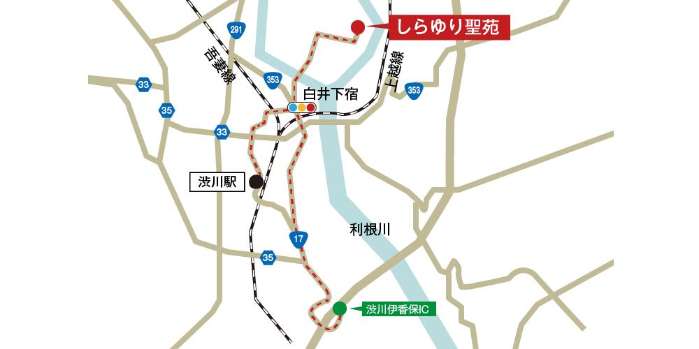 しらゆり聖苑への車での行き方・アクセスを記した地図