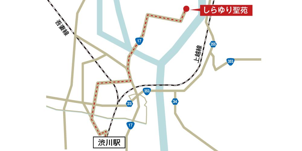 しらゆり聖苑への徒歩・バスでの行き方・アクセスを記した地図