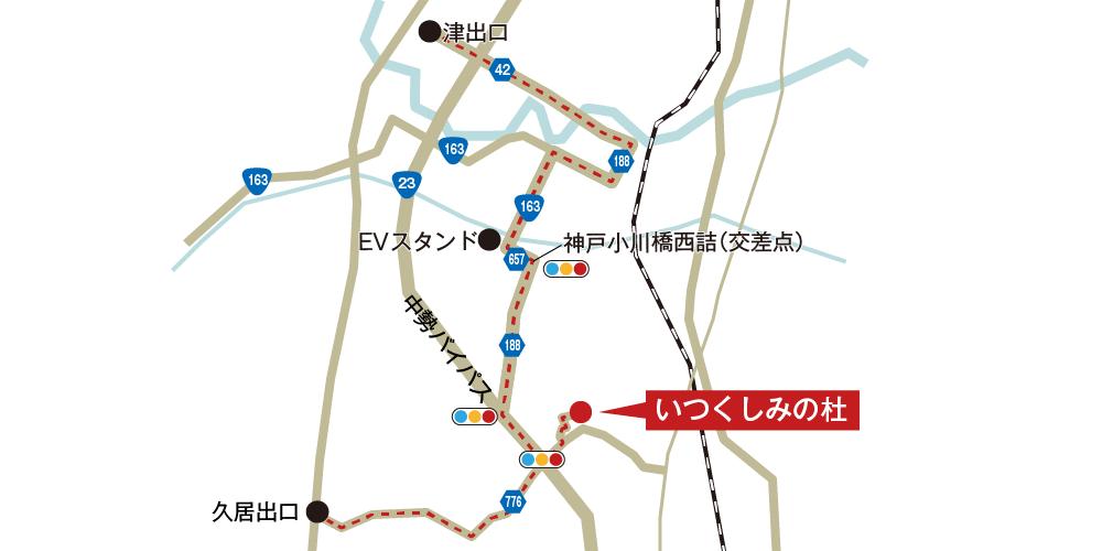 いつくしみの杜への車での行き方・アクセスを記した地図
