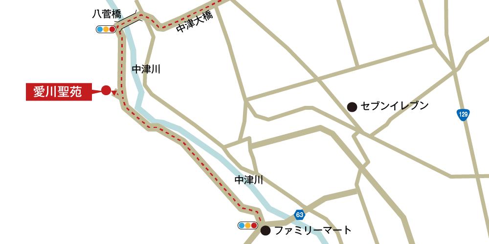 愛川聖苑への車での行き方・アクセスを記した地図