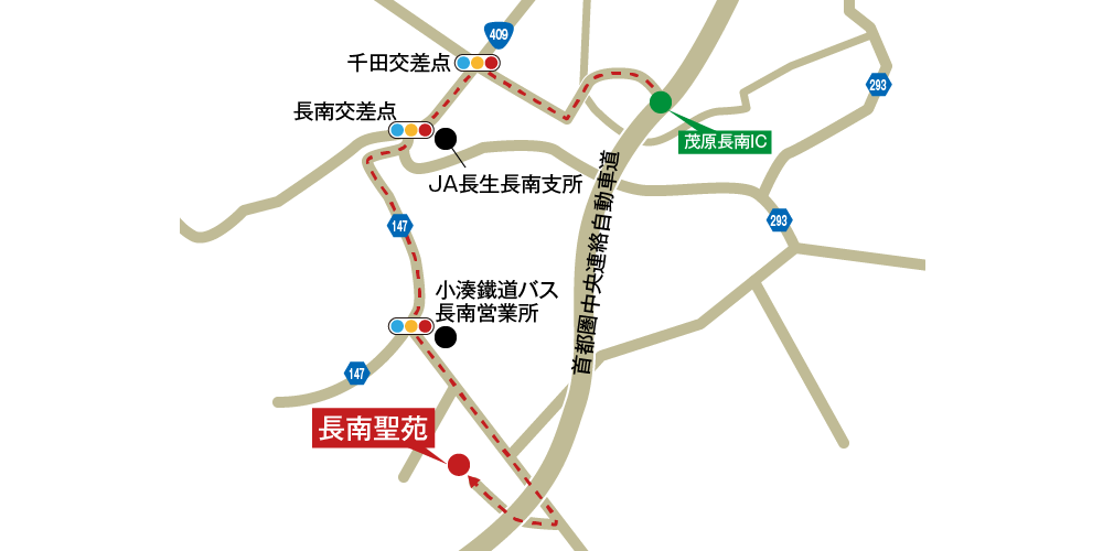 長南聖苑への車での行き方・アクセスを記した地図