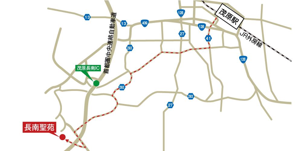 長南聖苑への徒歩・バスでの行き方・アクセスを記した地図