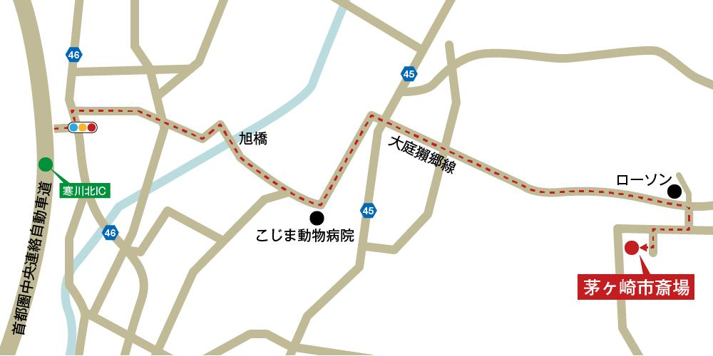 茅ヶ崎市斎場への車での行き方・アクセスを記した地図
