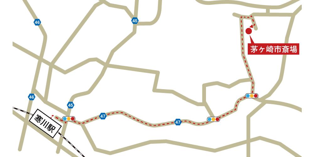 茅ヶ崎市斎場への徒歩・バスでの行き方・アクセスを記した地図