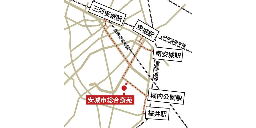 安城市総合斎苑への徒歩・バスでの行き方・アクセスを記した地図