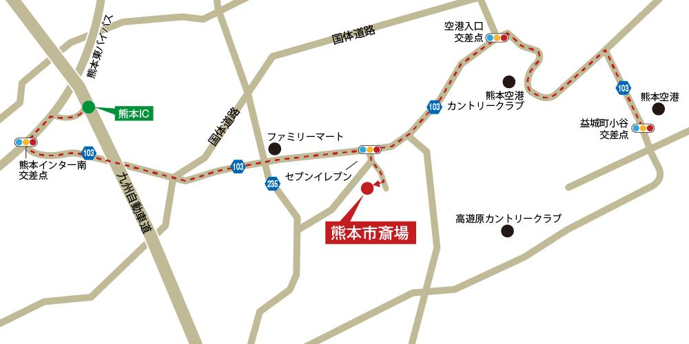 本市斎場への車での行き方・アクセスを記した地図