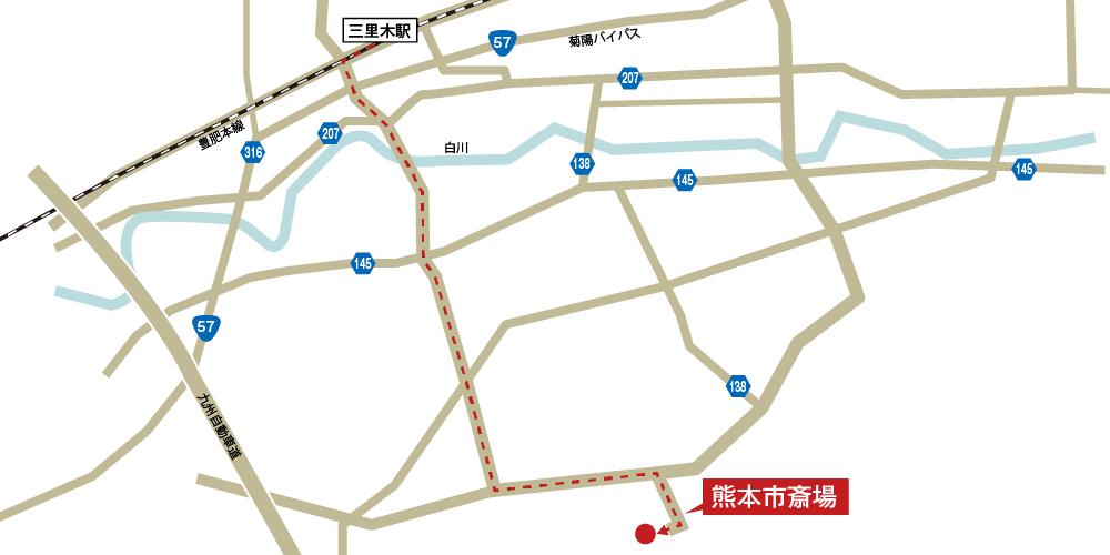 本市斎場への徒歩・バスでの行き方・アクセスを記した地図
