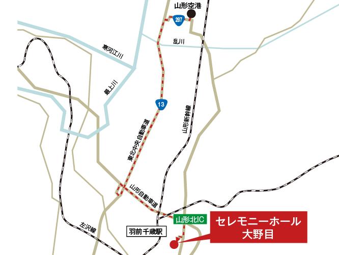 セレモニーホール大野目への車での行き方・アクセスを記した地図