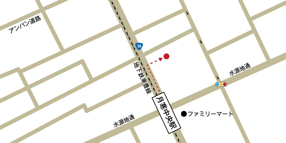 やわらぎ斎場月寒への徒歩・バスでの行き方・アクセスを記した地図