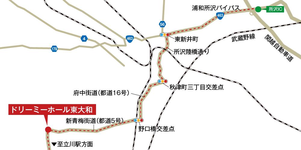 ドリーミーホール東大和への徒歩・バスでの行き方・アクセスを記した地図